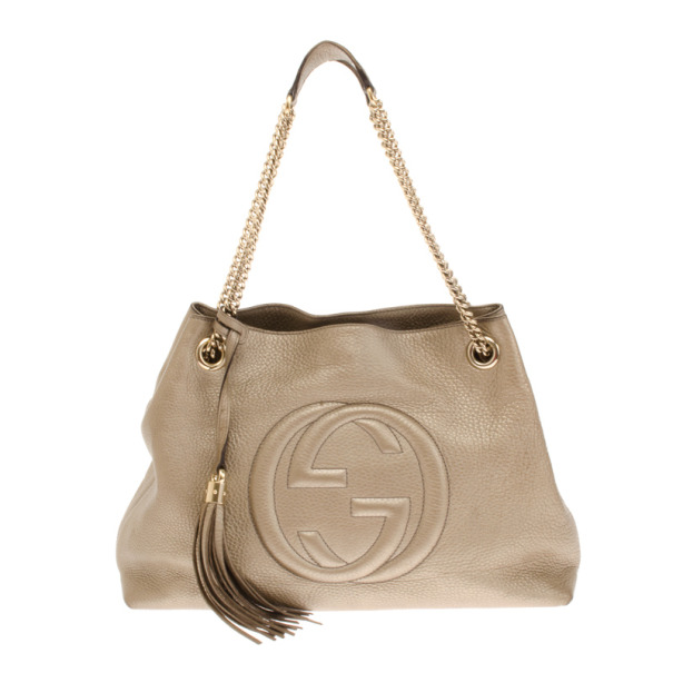 bb0b05b73d92 ... Gucci Gold Metallic Pebbled Calfskin Leather Soho Medium Tote.  nextprev. prevnext