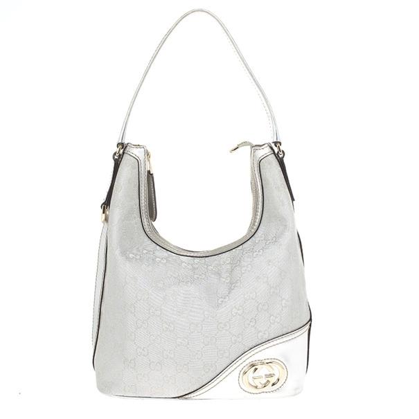 5fce3f5aaa4 Buy Gucci New Britt Silver Monogram Medium Hobo 19321 at best price ...