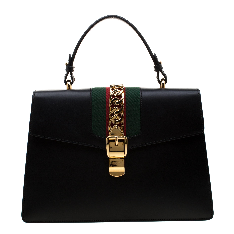 583455176 ... gucci black web chain leather medium sylvie shoulder bag nextprev  prevnext ...