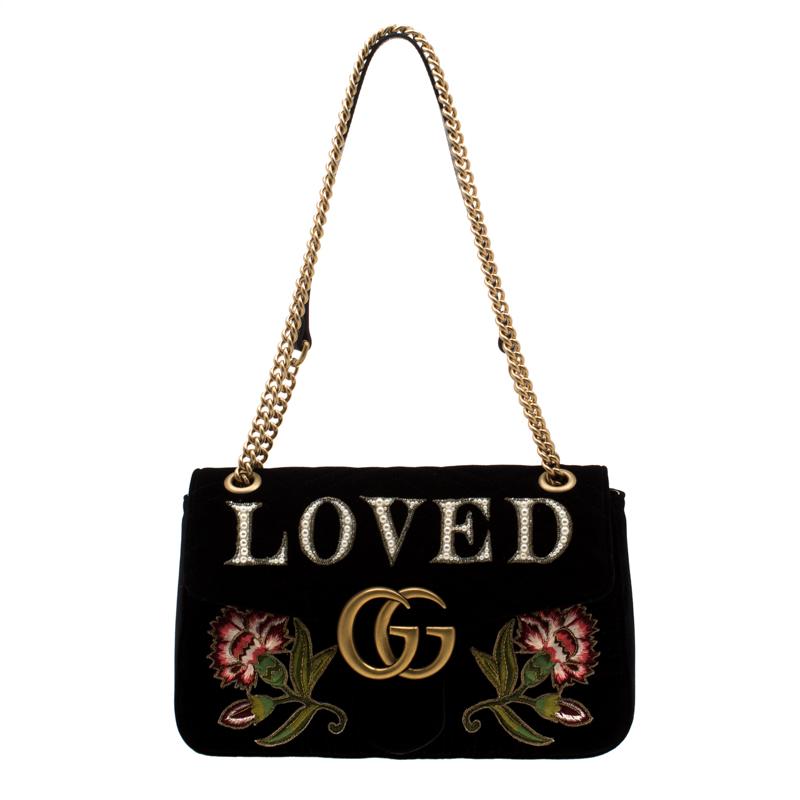 58651350dd59 ... Gucci Black Velvet Embroidered Small GG Marmont Shoulder Bag. nextprev.  prevnext
