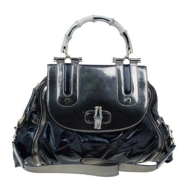 730f31d6965 ... Gucci Black Leather Dialux Ivory Pop Bamboo Top Handle Bag. nextprev.  prevnext