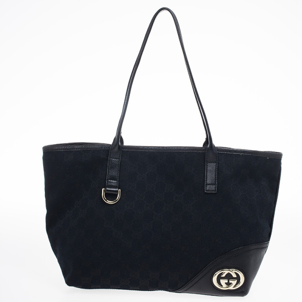 881ffd28090e Buy Gucci Black GG Canvas Britt Medium Tote Bag 19985 at best price ...