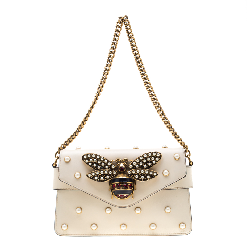 Gucci Off White Leather Broadway Pearly Bee Shoulder Bag