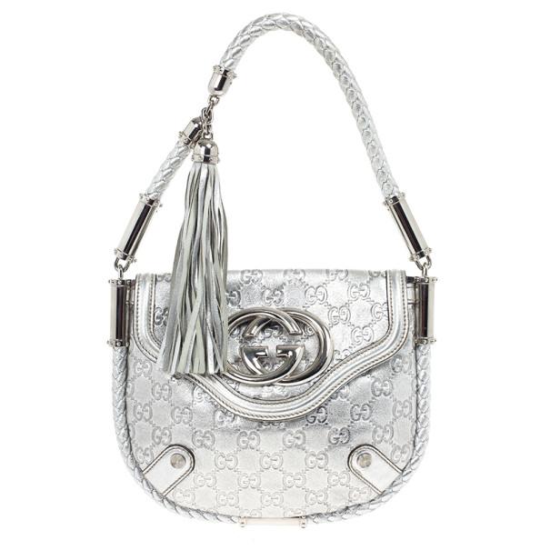 8334e1fed21 Buy Gucci Metallic Silver Guccissima Leather Small Britt Shoulder ...