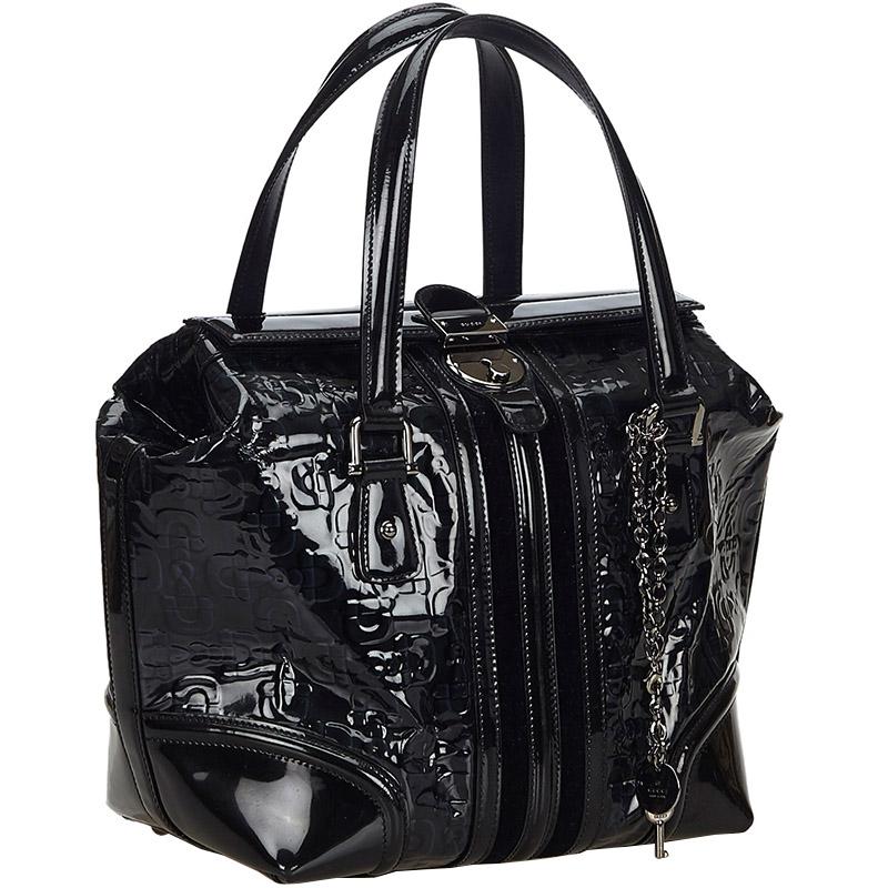 Gucci Black Patent Leather Horsebit Wave Shoulder Bag