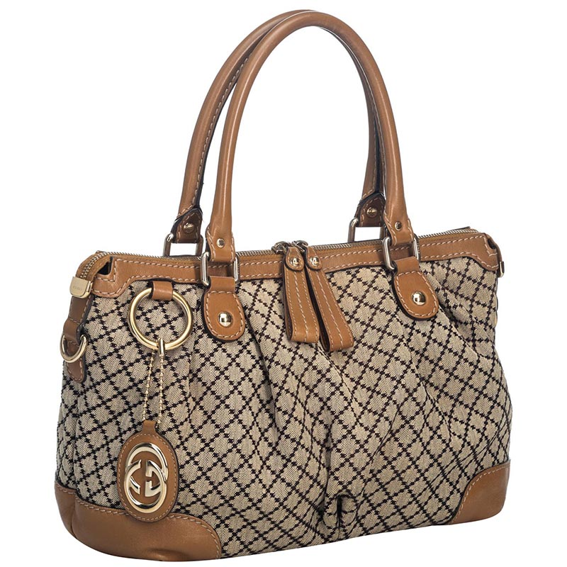Gucci Brown Diamante Canvas Sukey Satchel