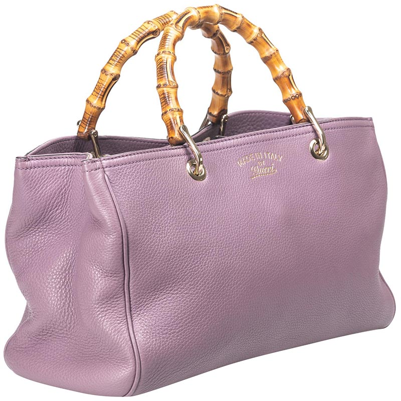 Gucci Purple Leather Bamboo Top Handle Shopper Tote