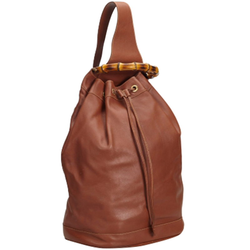 Gucci Brown Leather Bamboo Top Handle Drawstring Backpack