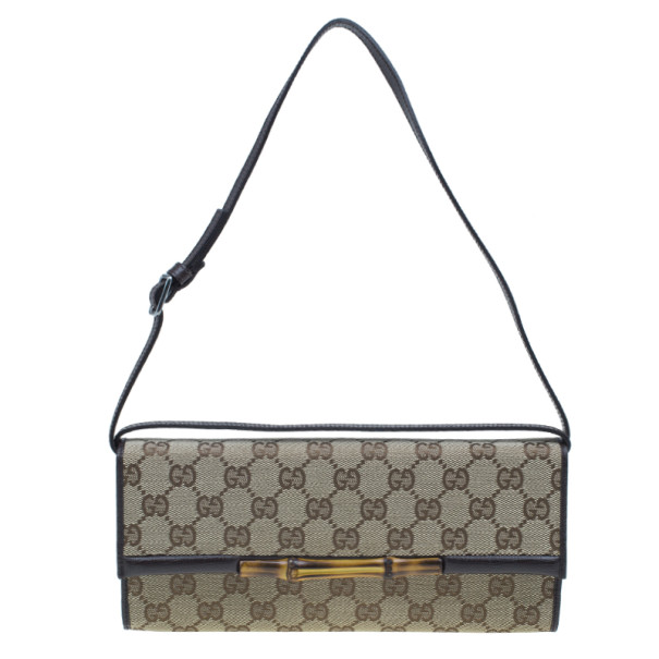 552250d5158 Buy Gucci Brown Canvas Monogram GG Bamboo Clutch 2155 at best price ...