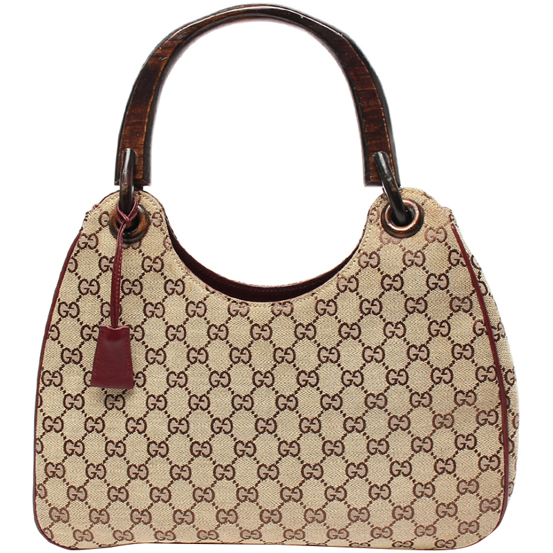 Gucci Beige Gg Canvas Wood Top Handle Bag