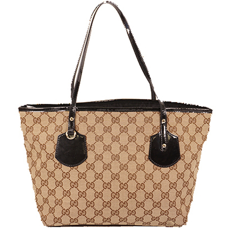 Gucci Brown/Beige GG Canvas Leather Tote Bag
