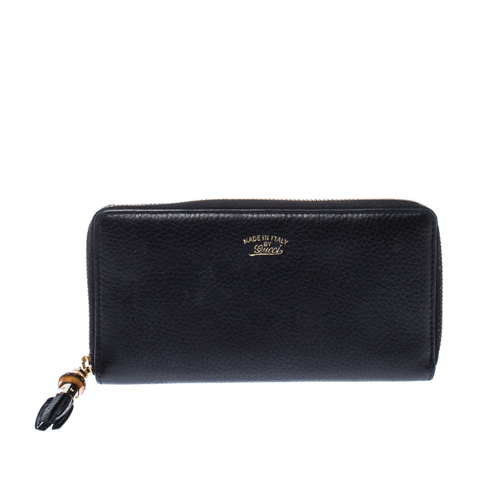 Gucci Black Leather Bamboo Tassel Zip Around Wallet