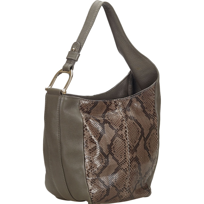Gucci Gray/Brown Python And Leather Greenwich Hobo Bag, Grey  - buy with discount