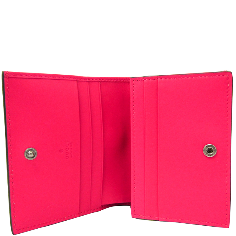 Gucci Pink Leather GUCCY Logo Card Case