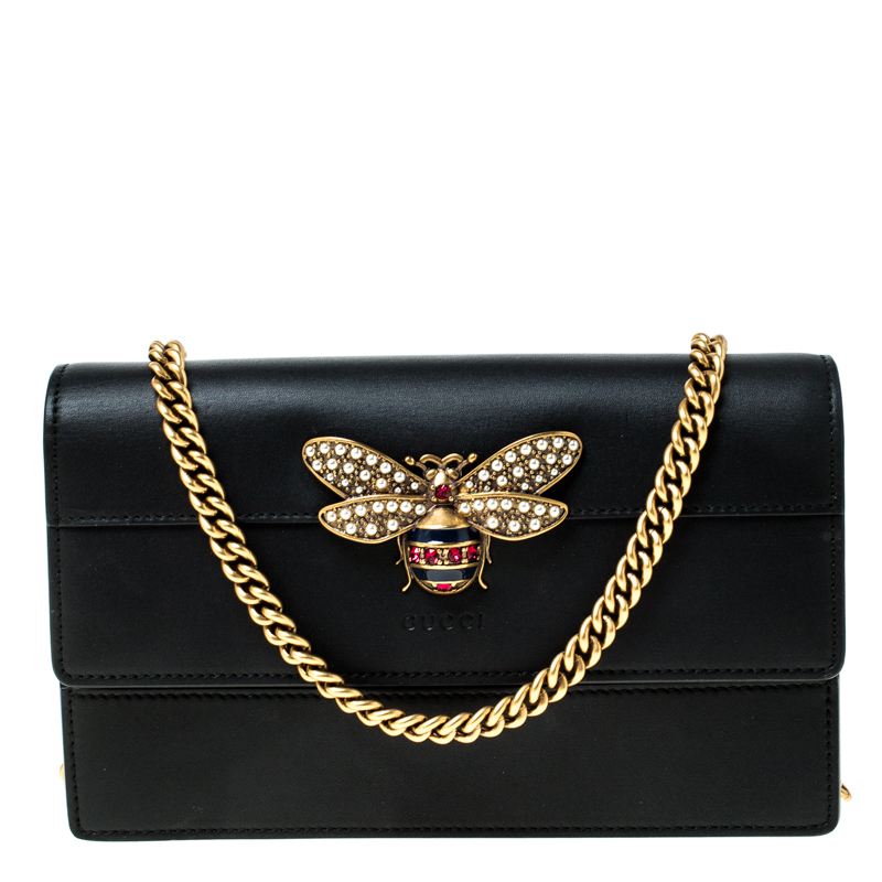 Gucci Black Leather Bee Embellished Crossbody Bag