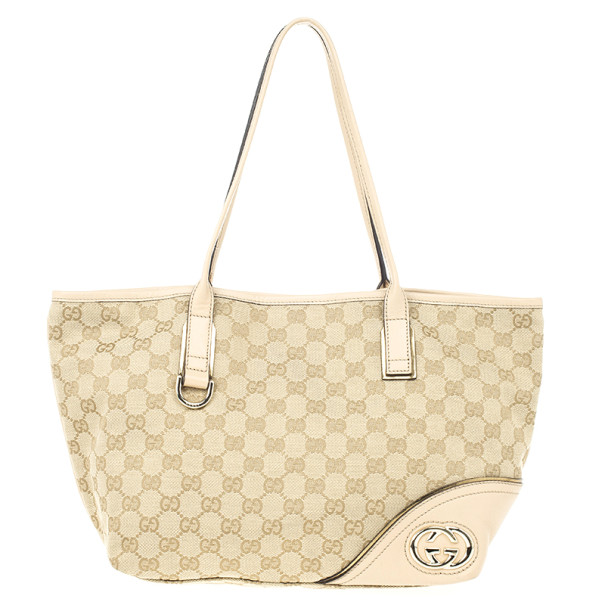 23afbd634 Buy Gucci New Britt Medium Tote Beige and Ebony GG Canvas 22581 at ...
