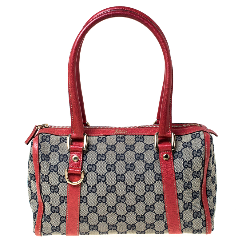 Gucci Beige/Red GG Canvas and Leather D-Ring Boston Bag