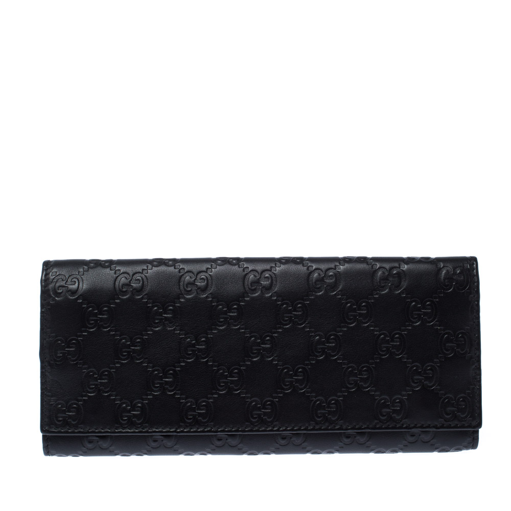 Gucci Dark Brown Guccissima Leather Trifold Long Wallet
