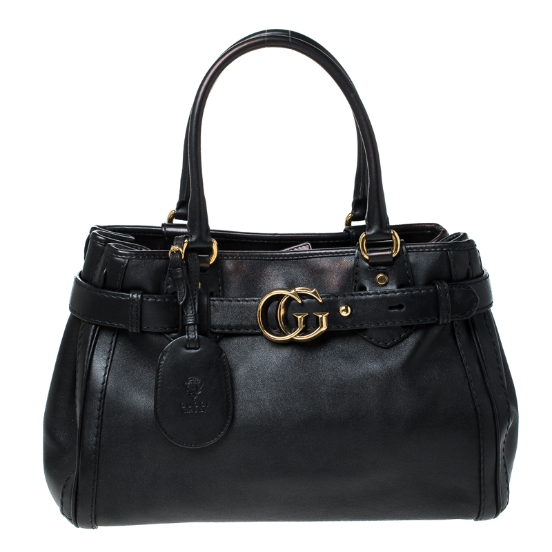 Gucci Black Leather GG Running Tote
