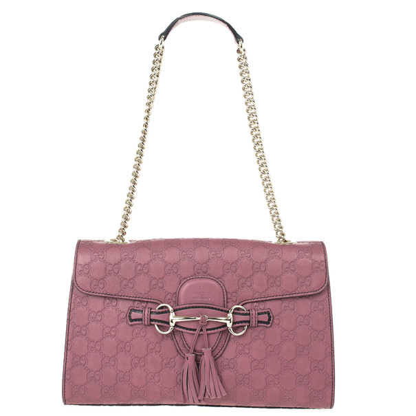 d69c05be0c2d Gucci Pink Emily Guccissima Leather Chain Shoulder Bag 23151 At