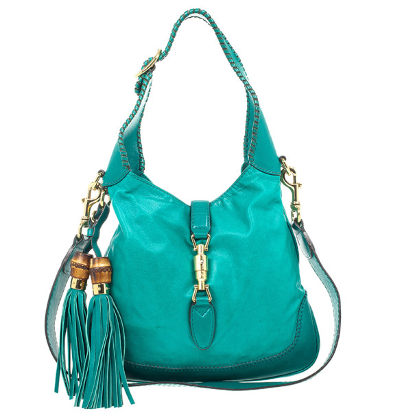 921b4318a8b4dc Buy Gucci Turquoise Leather New Jackie Medium Hobo Bag 23273 at best ...