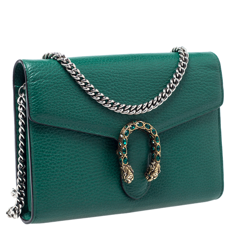 Gucci Green Leather Dionysus Wallet On Chain Gucci Tlc