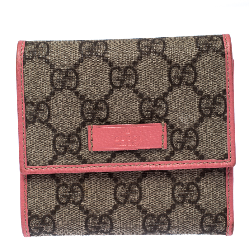 Gucci Beige/Pink Gg Supreme Canvas Tri Fold Compact Wallet by The Luxury Closet