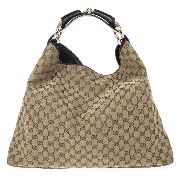 d164646a8c89d5 ... Gucci Beige/Ebony GG Canvas Horsebit Large Hobo Bag. nextprev. prevnext