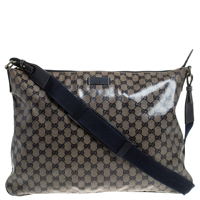 Gucci Blue Monogram Crystal GG Messenger Bag