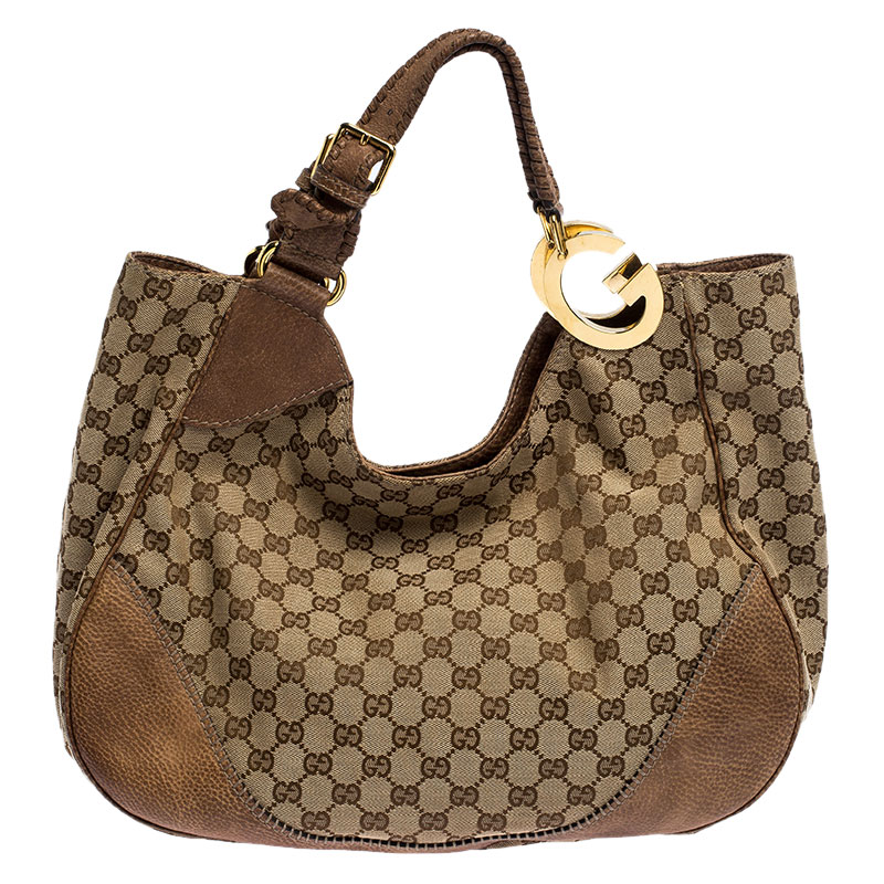 Gucci Beige/Brown GG Canvas and Leather Charlotte Hobo