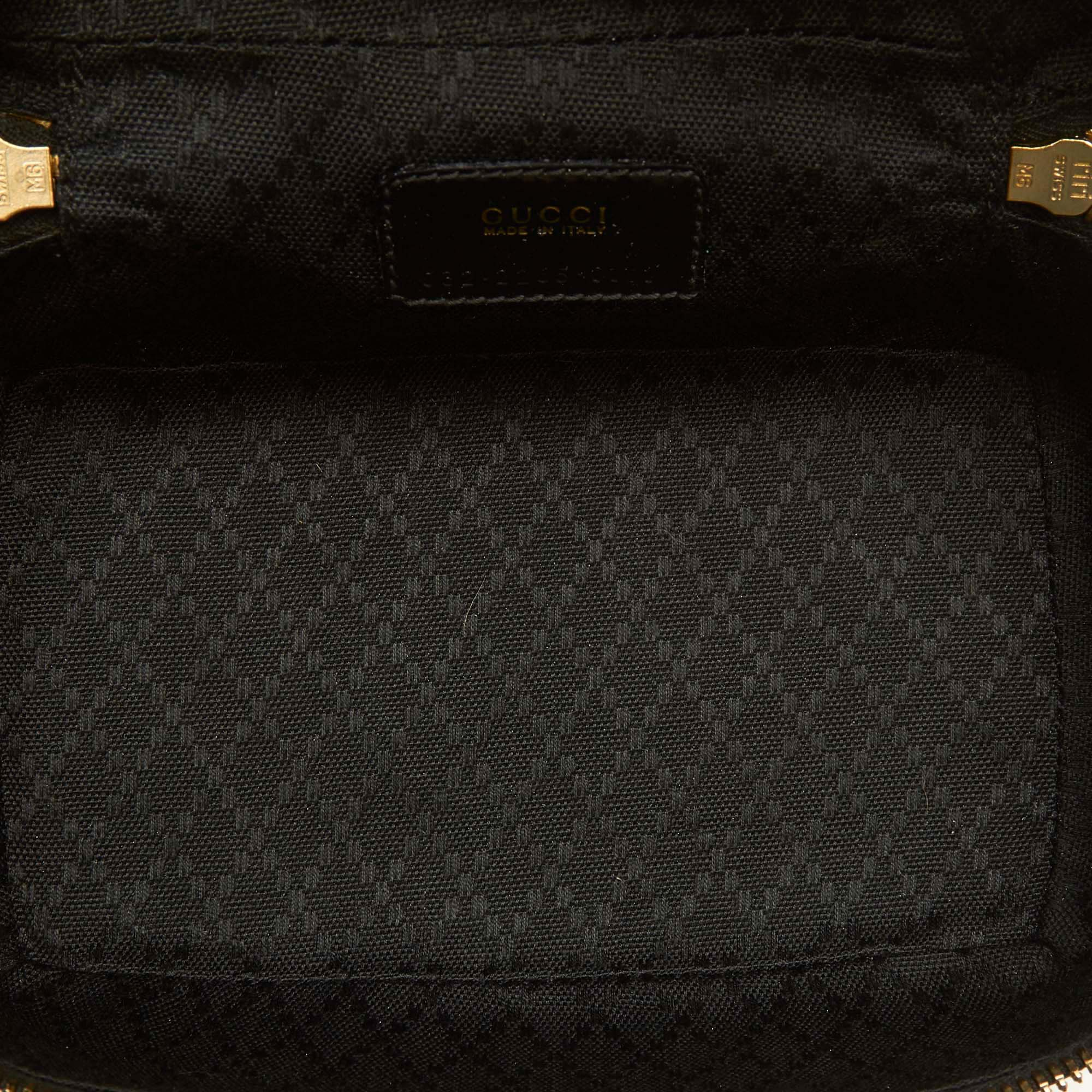 Gucci Black Patent Leather Bamboo Vanity Bag