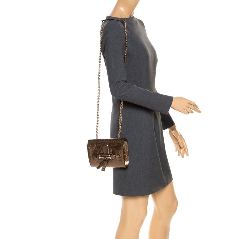 Gucci Bronze Guccissima Patent Leather Mini Emily Chain Shoulder Bag, Brown