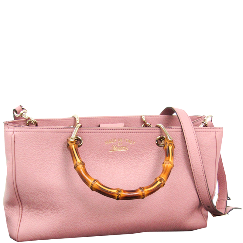 Gucci Light Pink Leather Medium Bamboo Shopper Tote