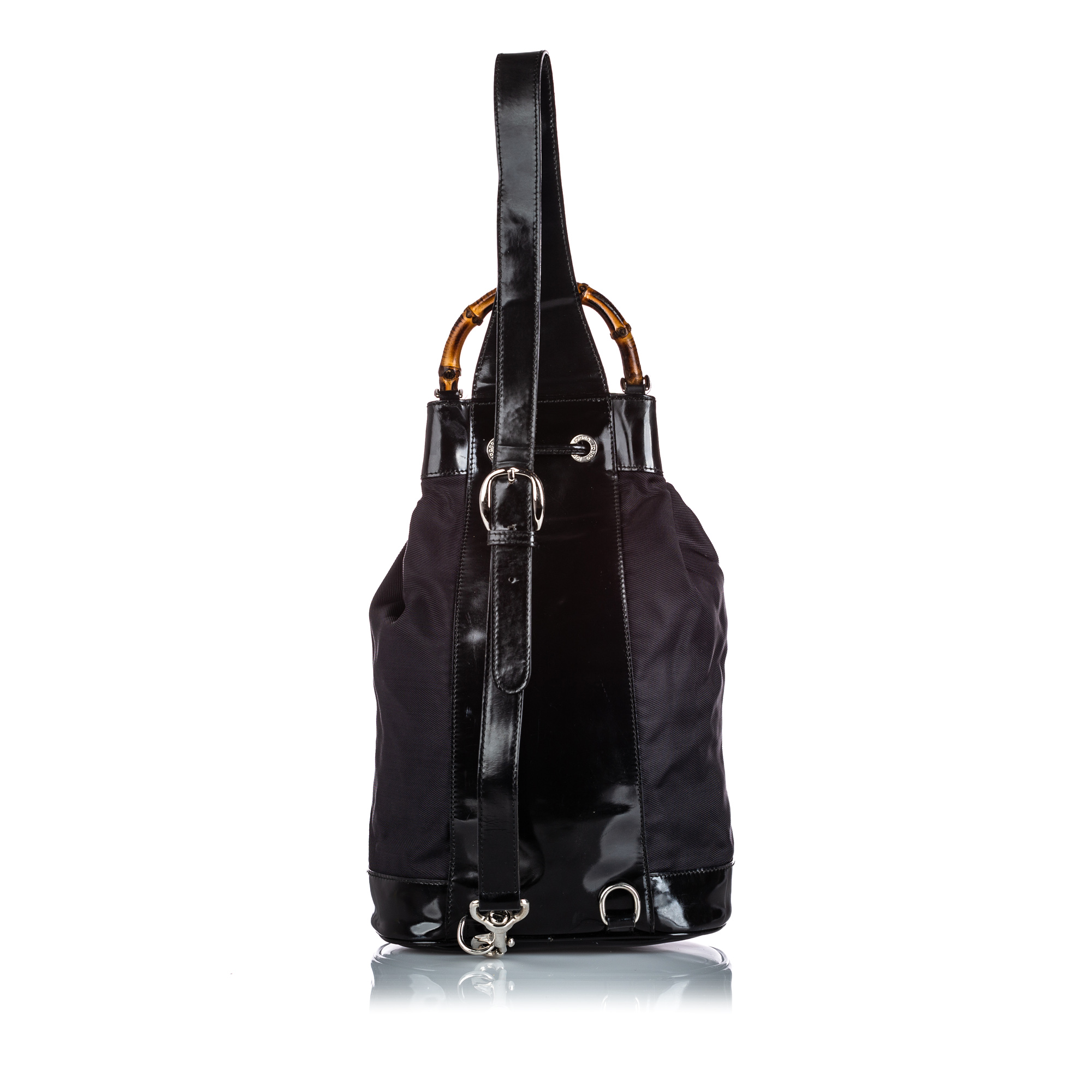 Gucci Black Nylon Bamboo Drawstring Backpack