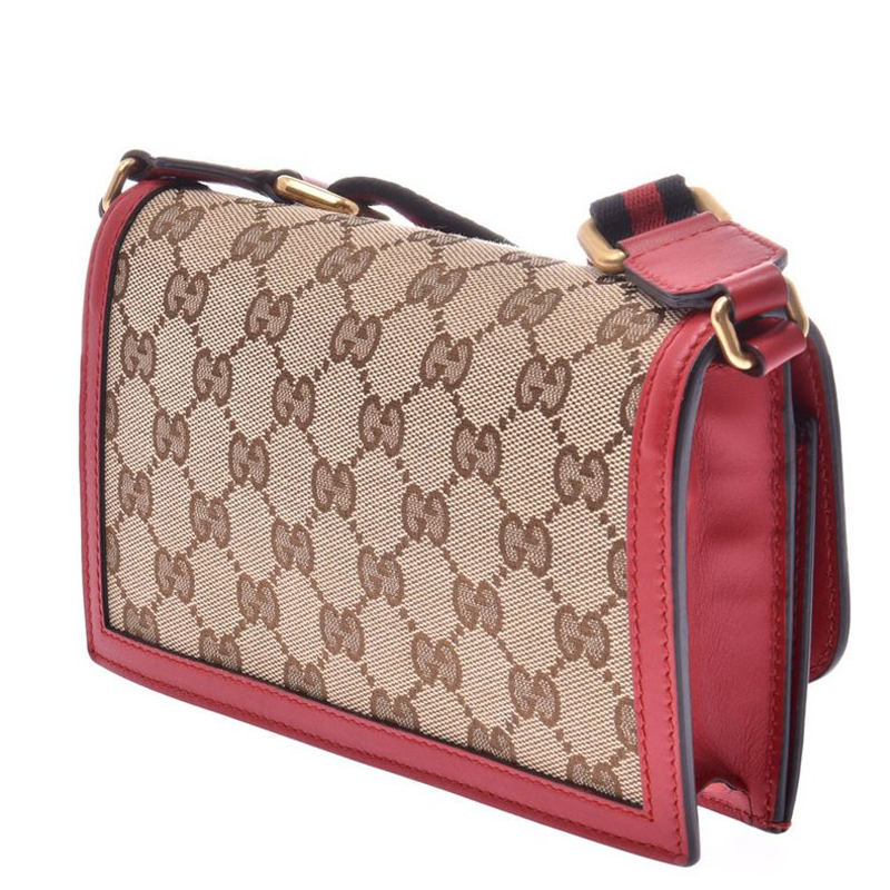 Gucci Red/Brown Guccissima Canvas And Leather Crossbody Bag