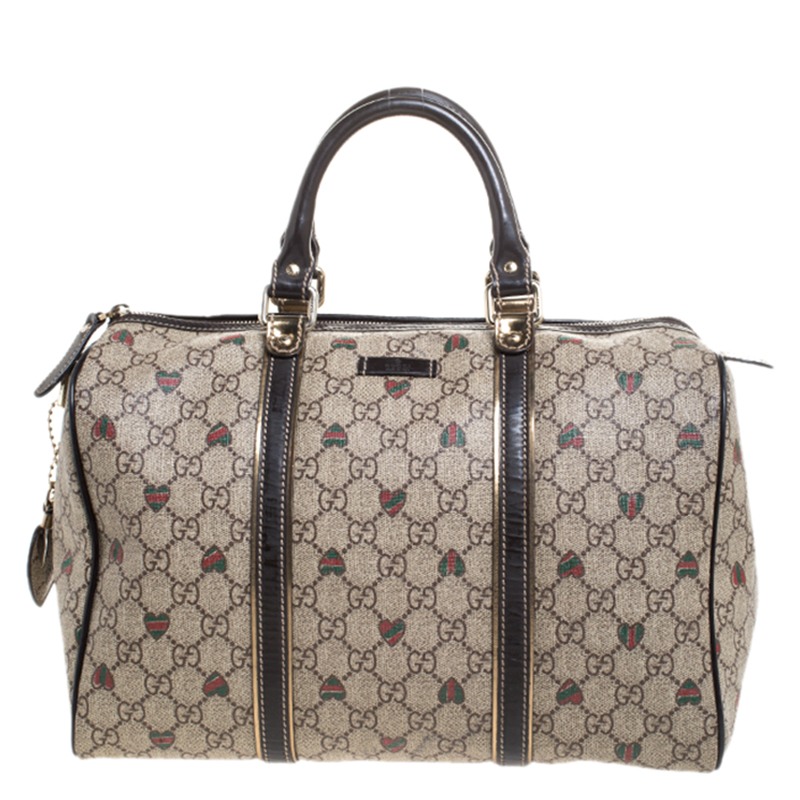 Gucci Brown/Beige GG Supreme Canvas Medium Tattoo Hearts Joy Boston Bag