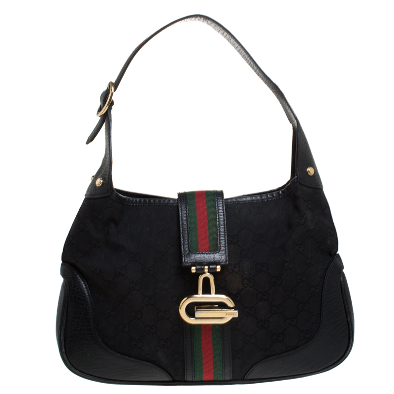 Gucci Black Canvas and Leather Web Jackie Hobo
