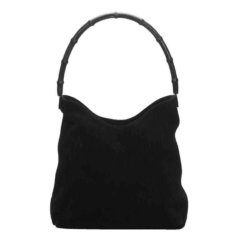 Gucci Black Suede Leather Bamboo Shoulder Bag