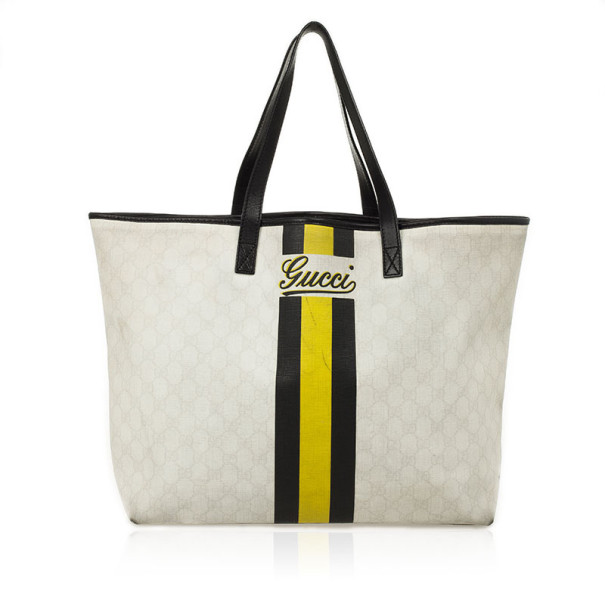 b1bc2b008efac Buy Gucci White and Monongram Striped Canvas Tote 27967 at best ...