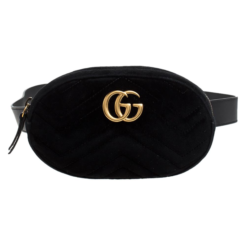 Gucci Black Matelassé Velvet GG Marmont Belt Bag