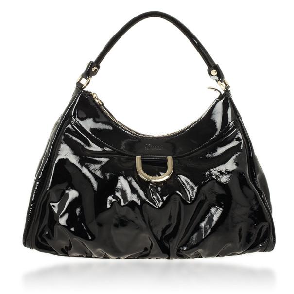 f50c6b45ff12 ... Gucci Black Patent Leather D Ring Large Hobo Bag. nextprev. prevnext