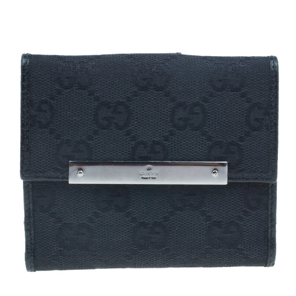 d6a8ea8f44d4 Buy Gucci Black GG Canvas French Flap Wallet 2940 at best price