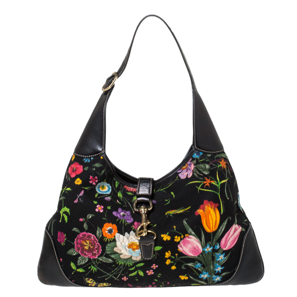 Gucci Black Fl Print Canvas And