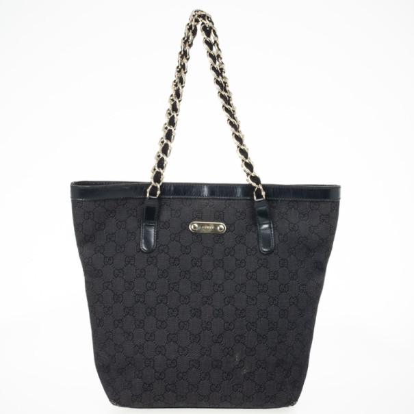 368f1cfa3435 ... Gucci Black GG Canvas Capri Chain Large Tote Bag. nextprev. prevnext