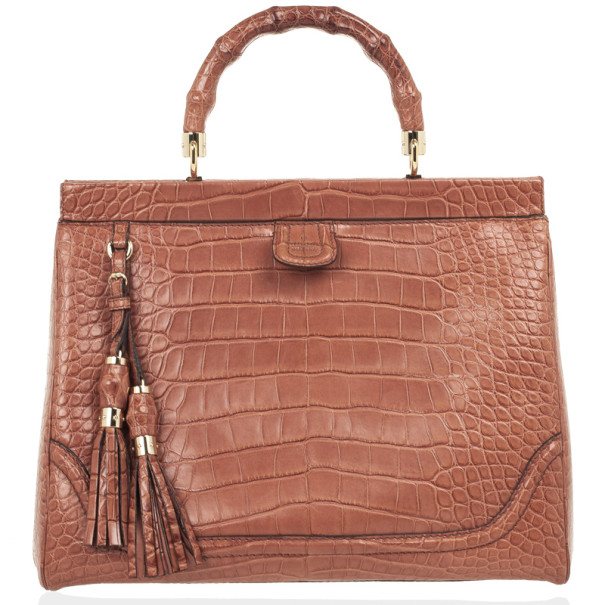 a7d04c59 ... Gucci Brown Bold Bamboo Pink Crocodile Top Handle Bag. nextprev.  prevnext