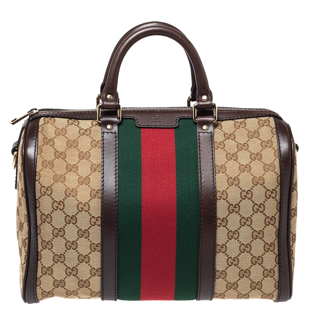 Gucci Brown/Beige GG Canvas and Leather Vintage Web Boston Bag