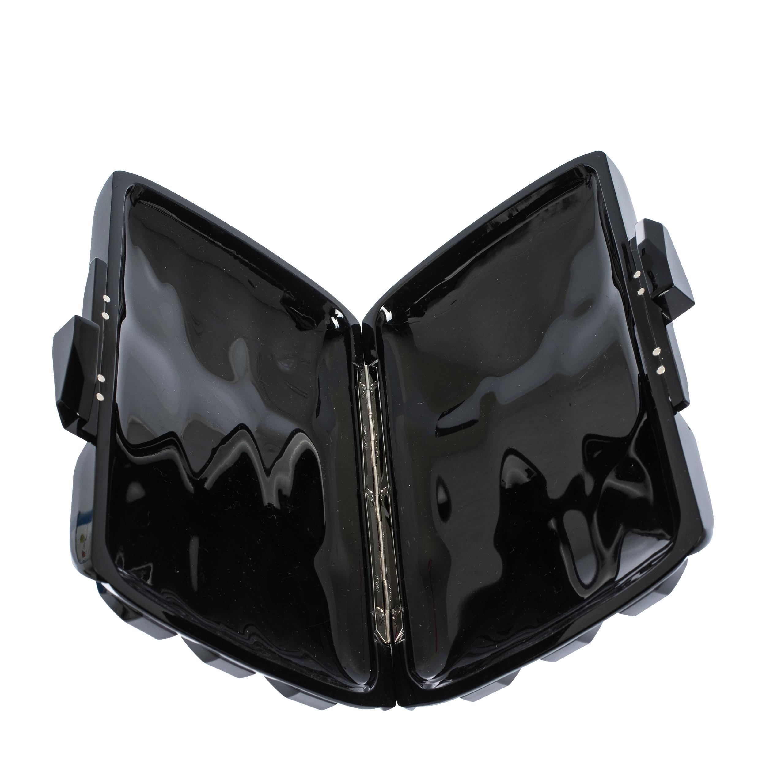 Gucci Black Plexiglass Aristographic Evening Clutch