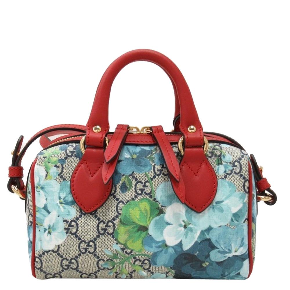 Gucci Multicolor GG Supreme Canvas Blooms Small Boston Bag