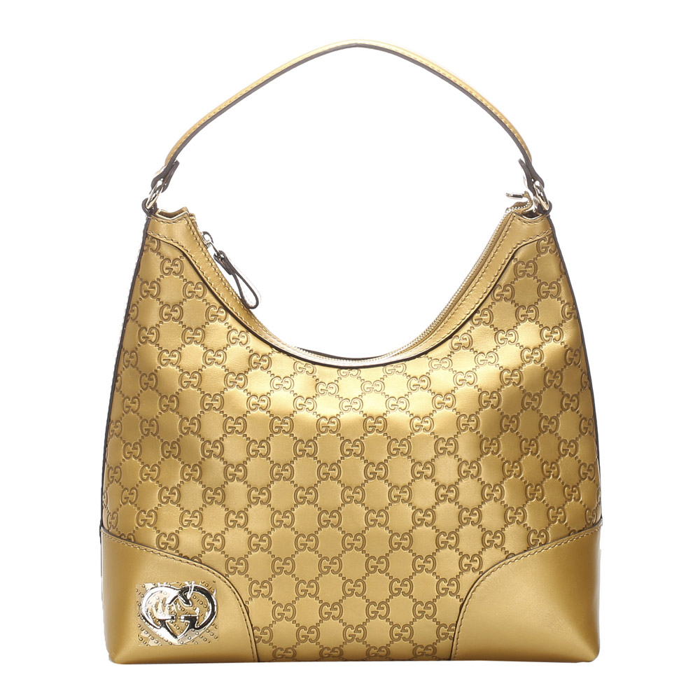 Pre-owned Gucci Ssima Lovely Leather Shoulder Bag In Gold