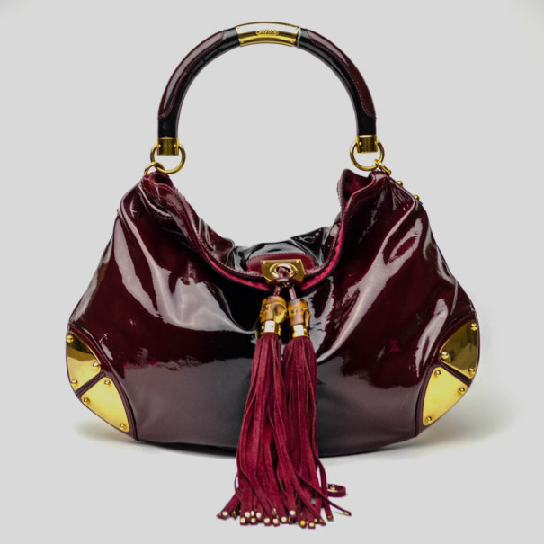 Gucci Burgundy Patent Leather Indy Hobo